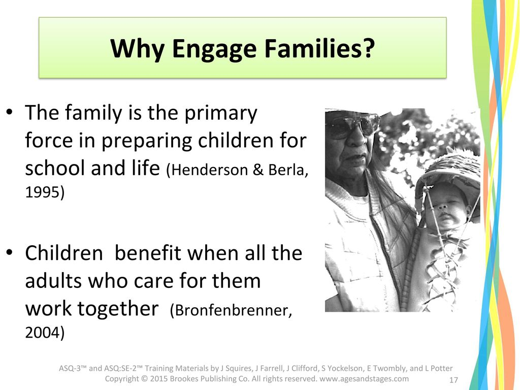 Why Engage Families The family is the primary force in preparing children for school and life (Henderson & Berla, 1995)