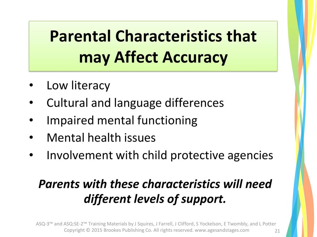 Parental Characteristics that may Affect Accuracy