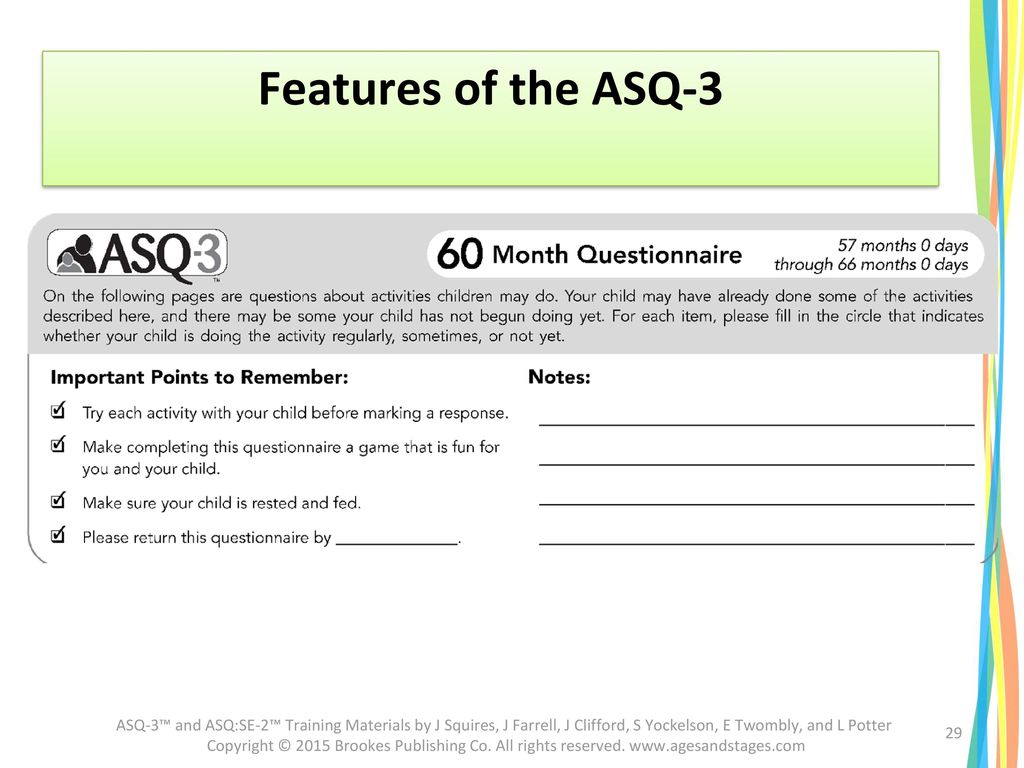 Features of the ASQ-3