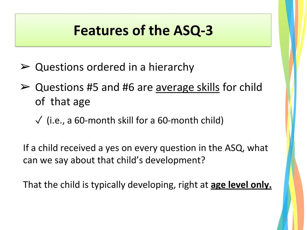 Features of the ASQ-3 Questions ordered in a hierarchy