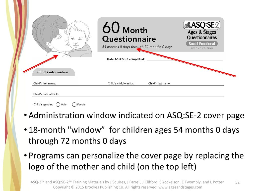 Administration window indicated on ASQ:SE-2 cover page