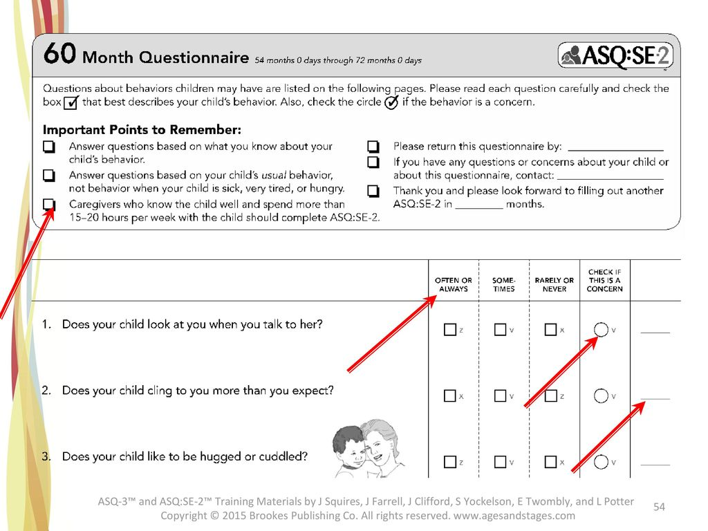 Participants should have the 60 Month ASQ:SE-2 Questionnaire before them for review.