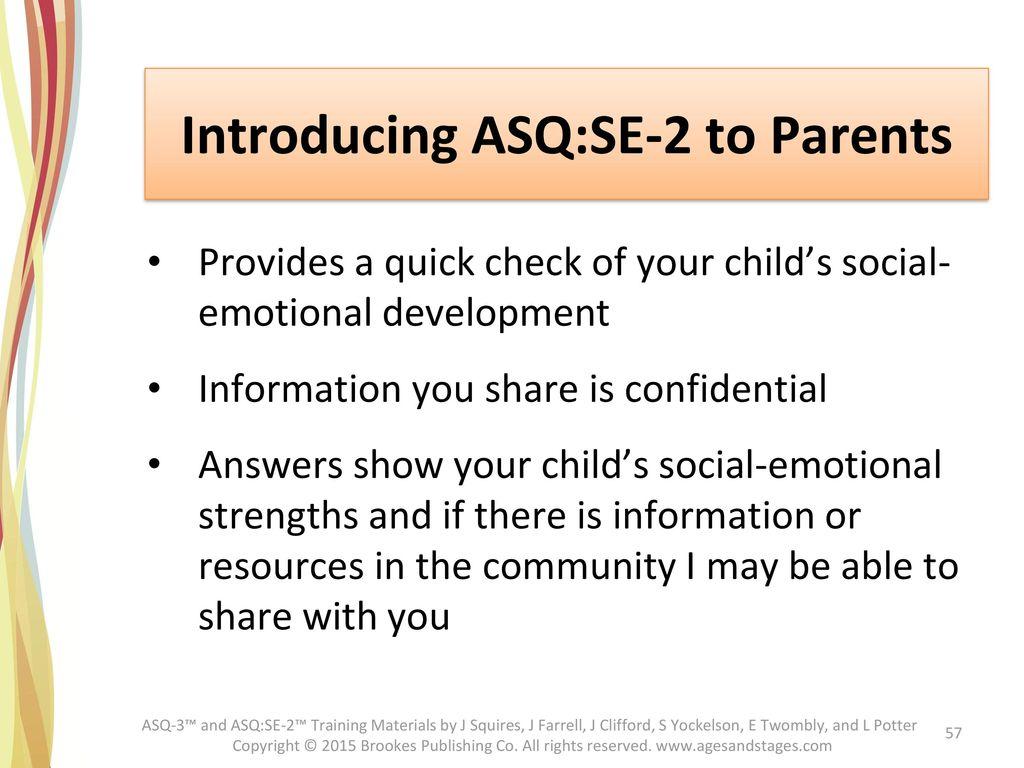 Introducing ASQ:SE-2 to Parents