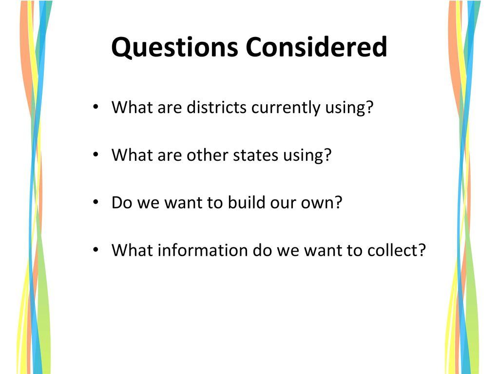 Questions Considered What are districts currently using
