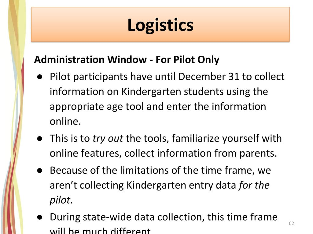 Logistics Administration Window - For Pilot Only