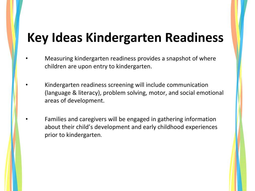 Key Ideas Kindergarten Readiness