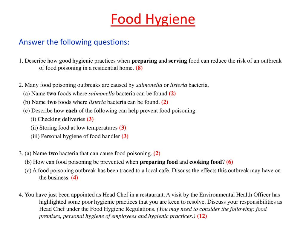 food handler questions and answers