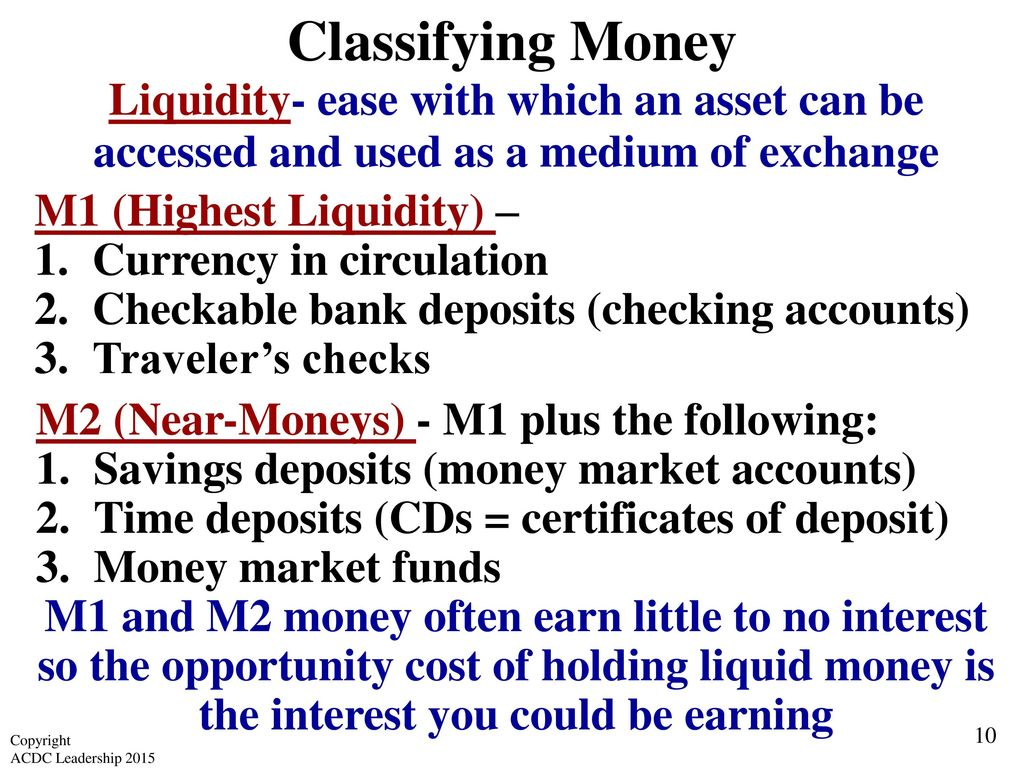 Unit 4 money banking and monetary policy ppt video online classifying money liquidity ease with which an asset can be accessed and used as a 1betcityfo Image collections