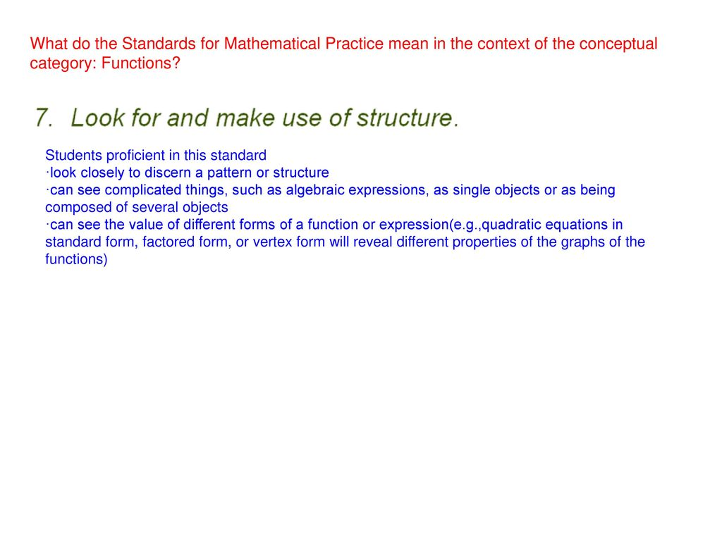Planning to implement ccss m function cluster ppt download what do the standards for mathematical practice mean in the context of the conceptual category falaconquin