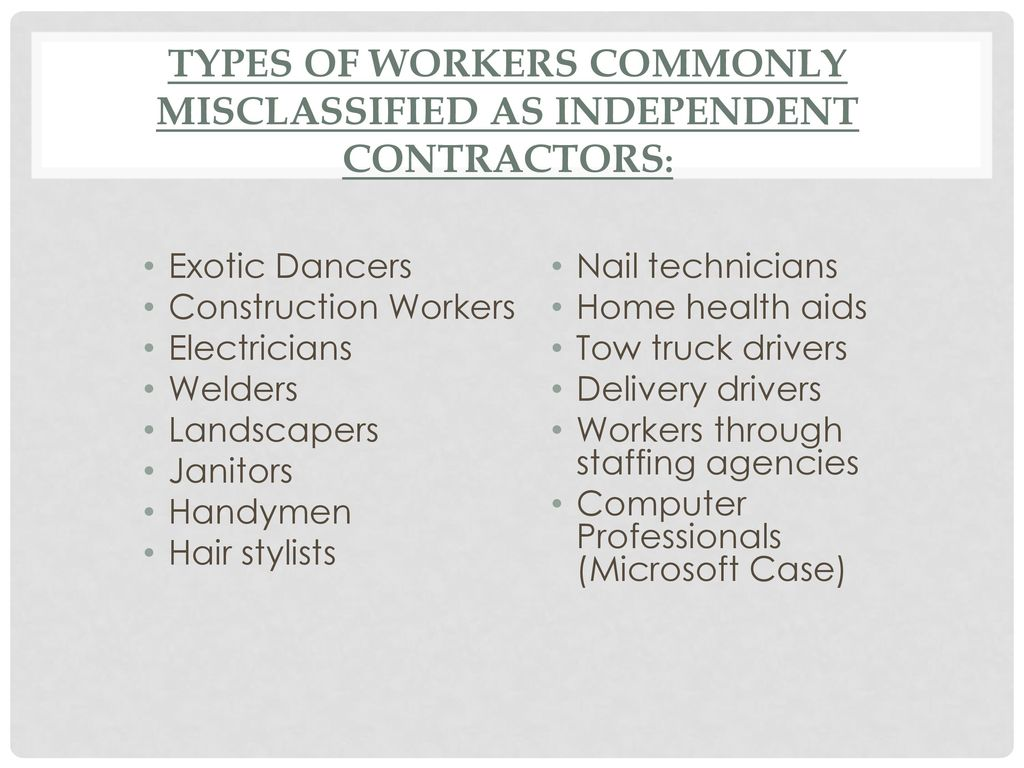 """""""Employee"""" Vs """"Independent Contractor"""" Ppt"""