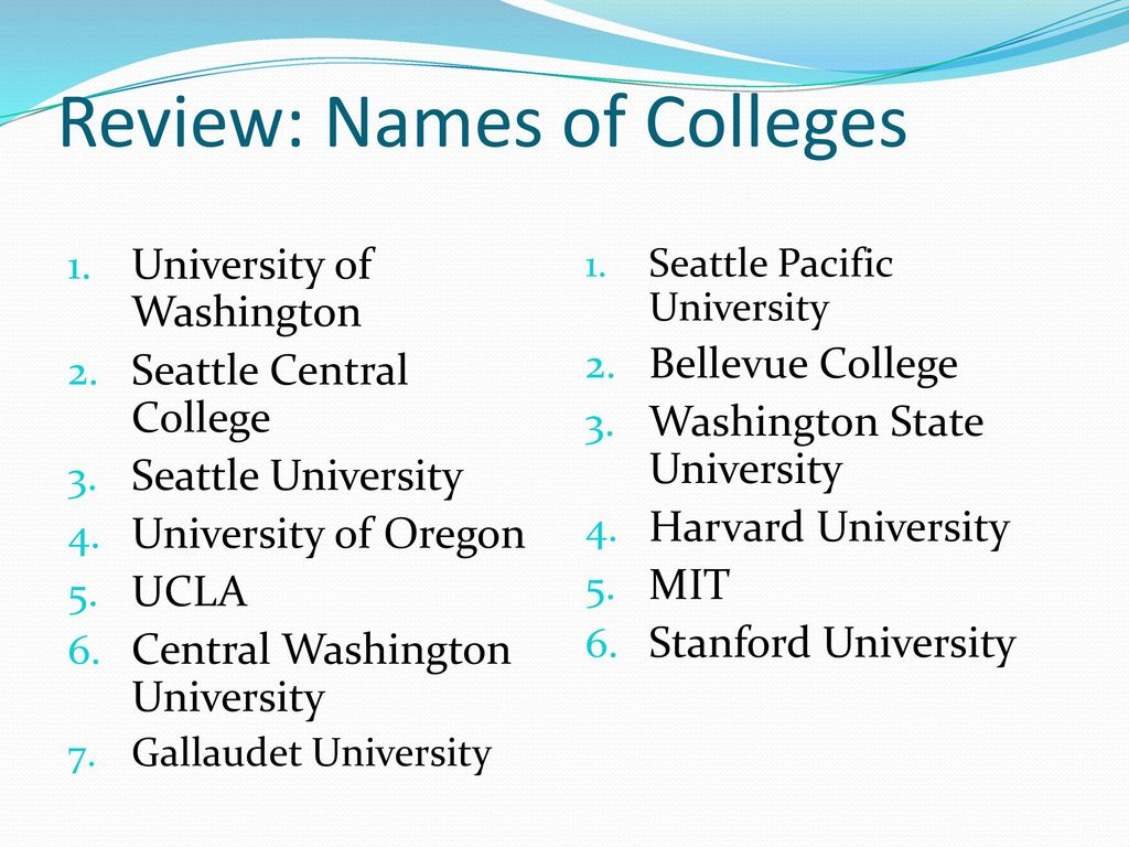 Review: Names of Colleges