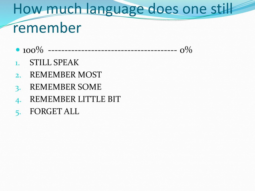 How much language does one still remember