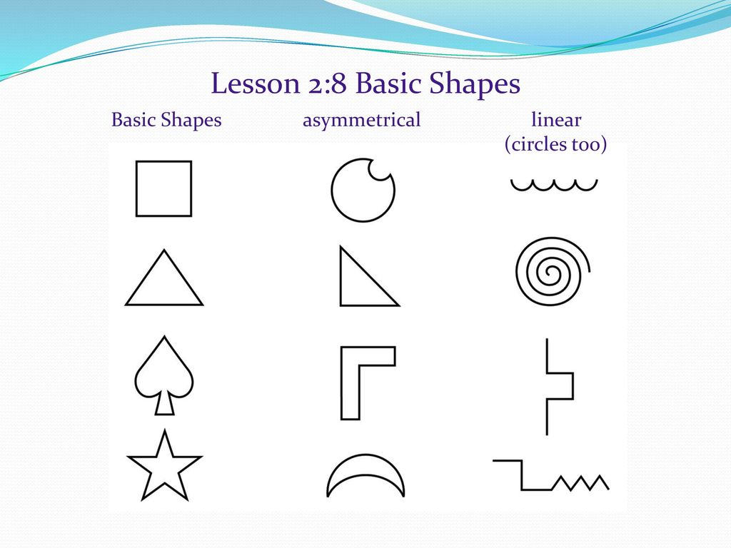 Lesson 2:8 Basic Shapes Basic Shapes asymmetrical linear (circles too)