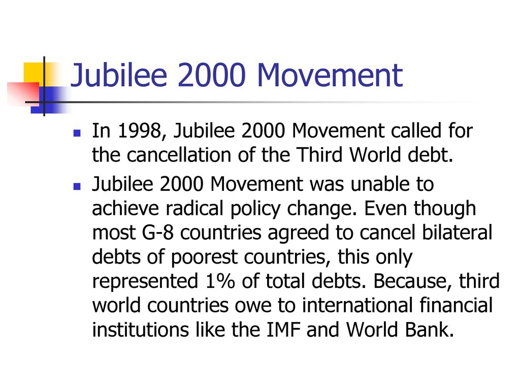 an analysis of formation of jubilee 2000 The formation of jubilee 2000 was marked by the all african council of churches in 1990 who called for a year of jubilee to cancel africa's debts (9) jubilee 2000 is a global movement concerned with the 100% one off cancellation of the unpayable debts of the world's poorest countries by the end of 2000, under a fair and transparent process(1.
