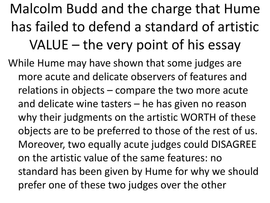 essay on the standard of taste Essays, moral, political, and literary home | books  essay xxiii of the standard of taste  it is natural for us to seek a standard of taste.