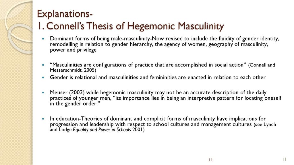 hegemonic masculinity thesis A thesis submitted in fulfilment of the requirements for the degree of master of arts in psychology, the university of auckland,  model of 'hegemonic masculinity.