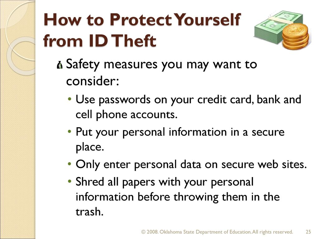 protect yourself from identity theft essay 5 ways to protect yourself from identity theft guard important personal documents if you must guard one piece of physical documentation with your life, make it your social security card.