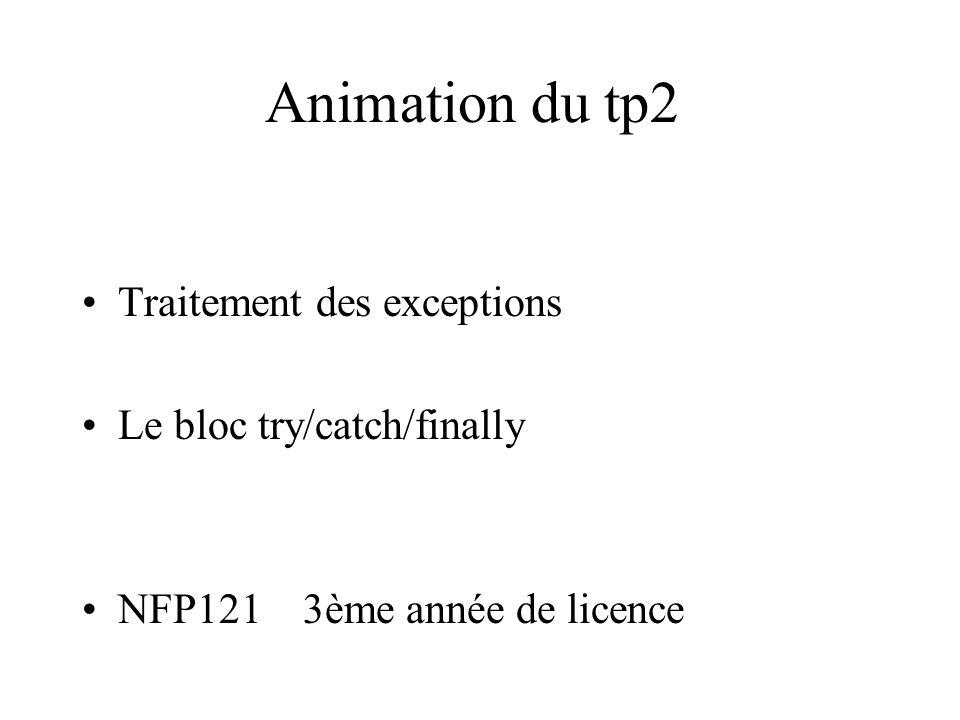 Animation du tp2 Traitement des exceptions Le bloc try/catch/finally