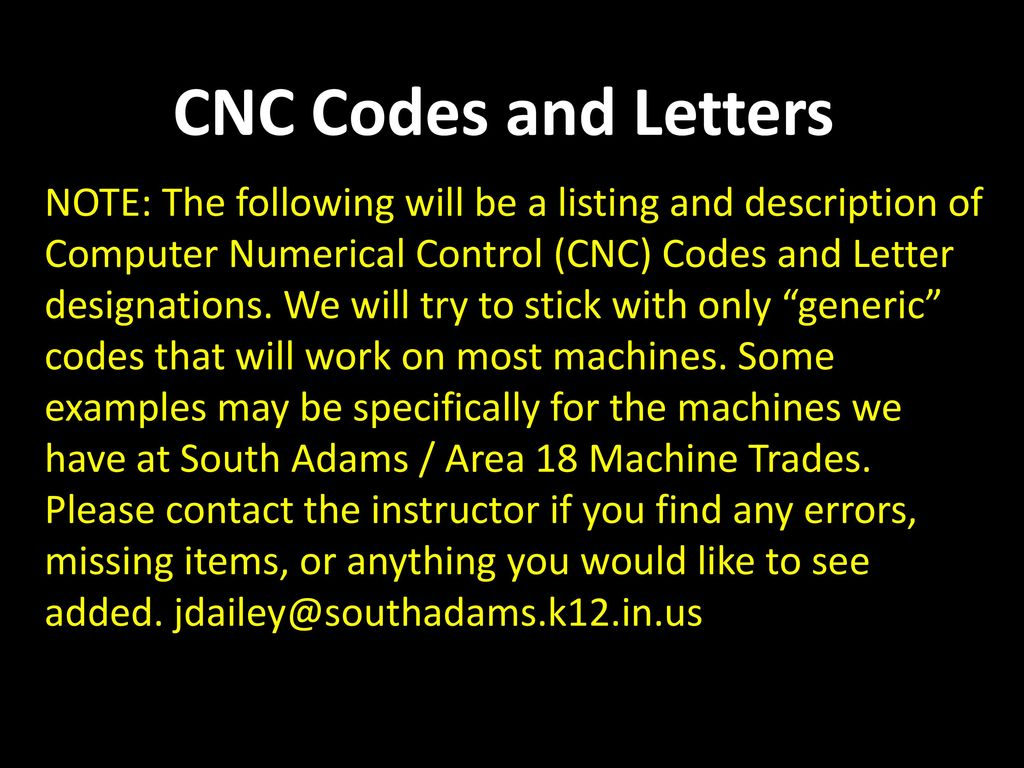 cnc codes and letters note the following will be a listing and