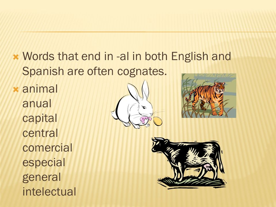 Words that end in -al in both English and Spanish are often cognates.