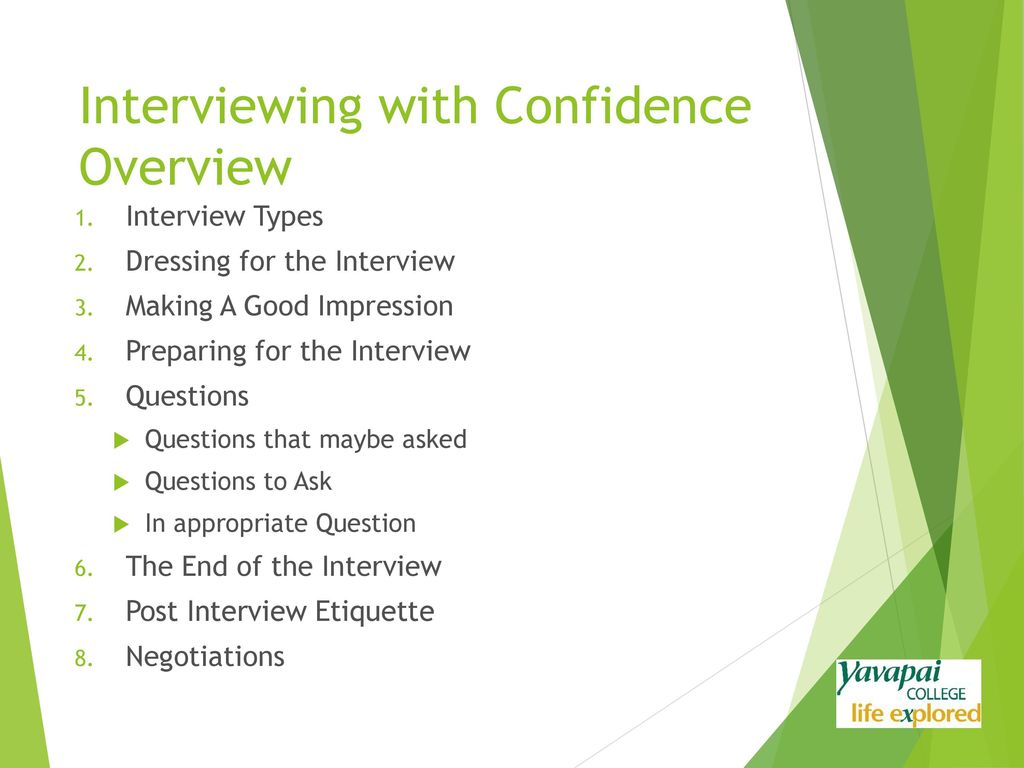 Amazing 3 Interviewing With Confidence Overview