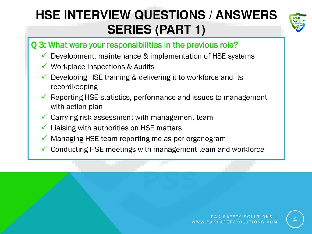 HSE Interview Questions / Answers Series (Part 1)