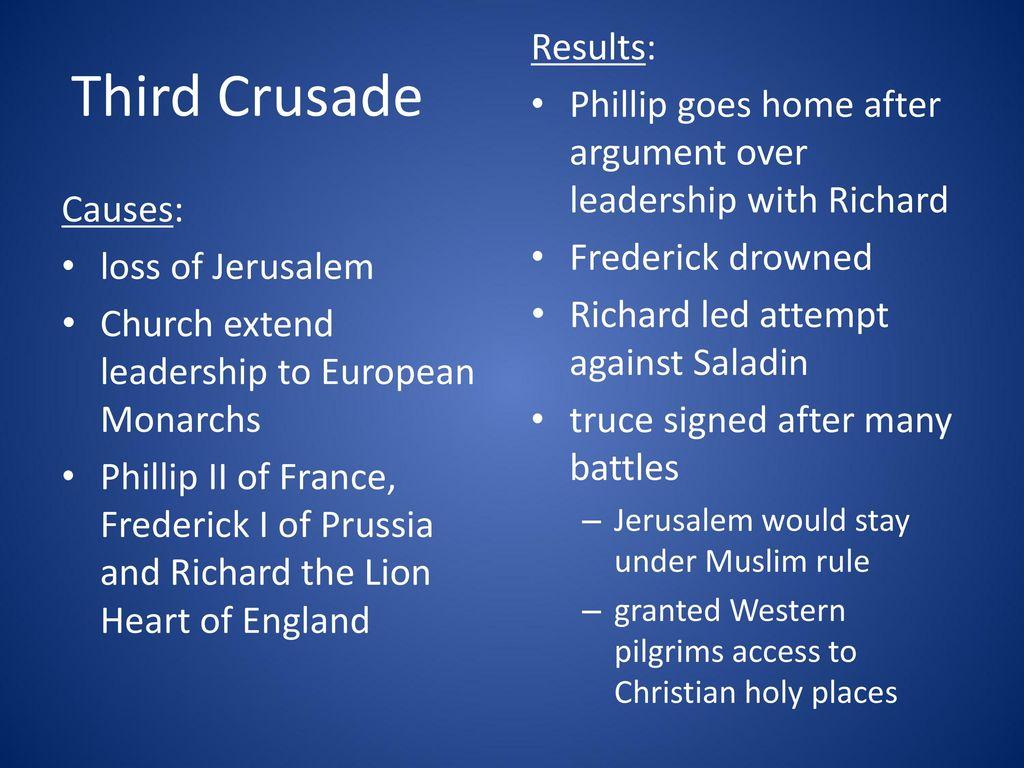 Third Crusade Results: