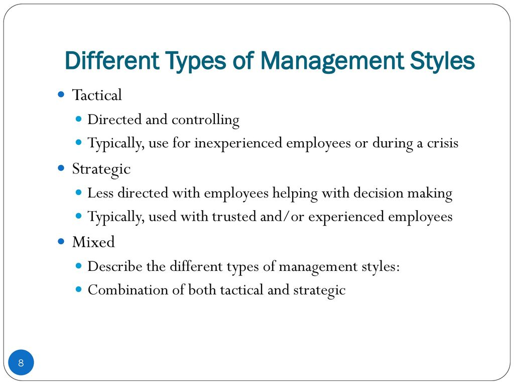 different types management styles essay I took a management quiz that displayed a general sense of my management style management styles are different com/free-essays/management-style-essay-702533.