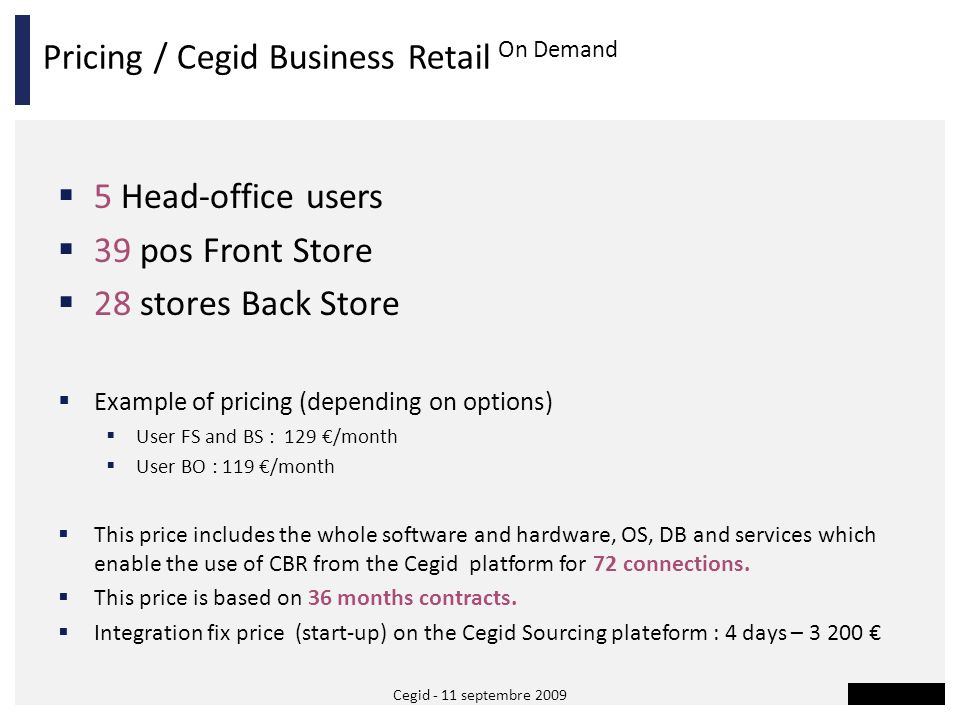 Pricing / Cegid Business Retail On Demand