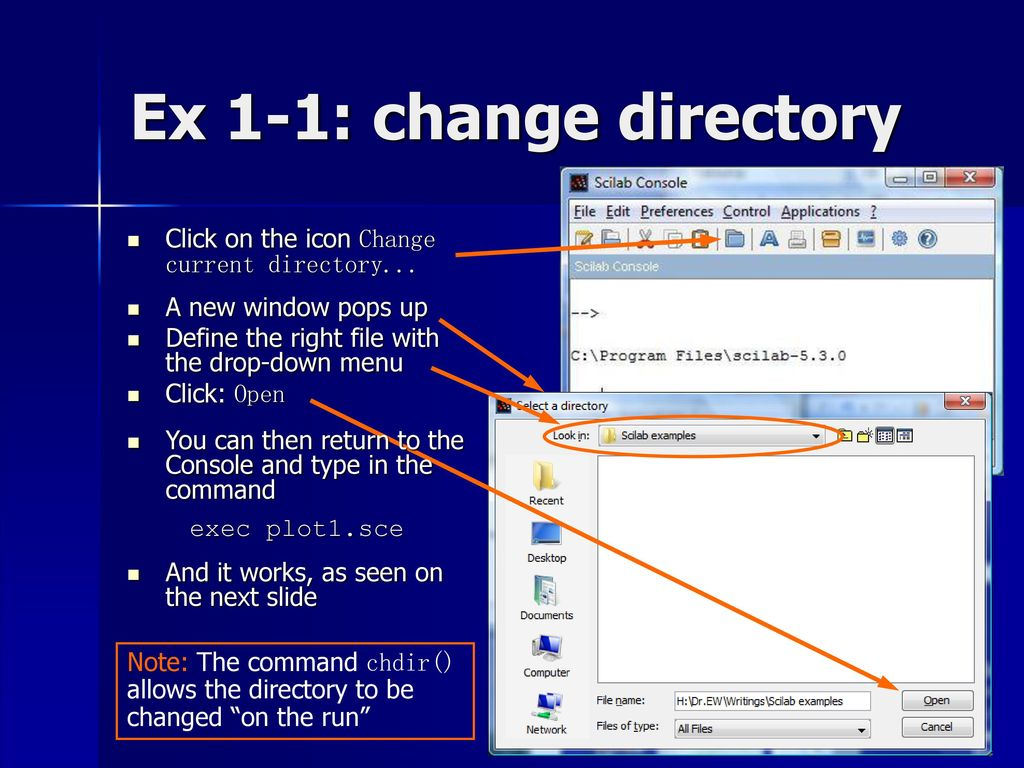 how to change the current slide