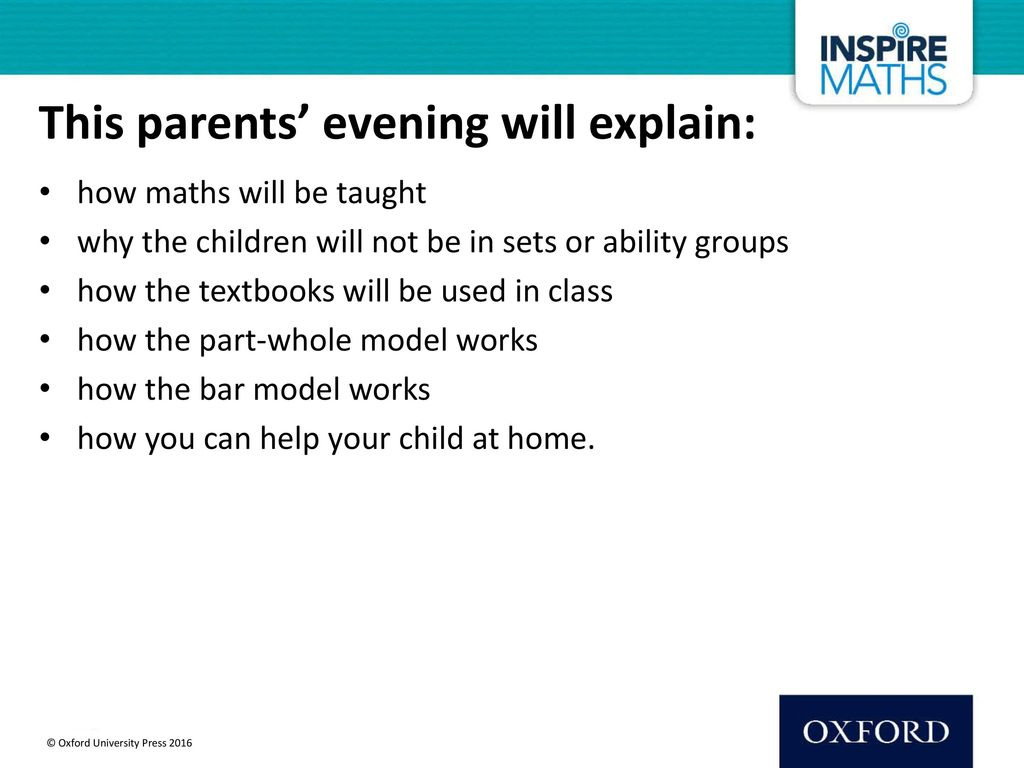 This parents' evening will explain: