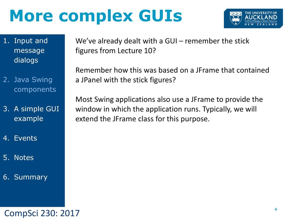 Lecture 15 basic gui programming ppt download more complex guis input and message dialogs java swing components a simple gui example baditri Choice Image