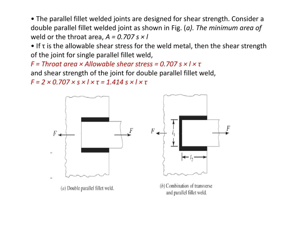 Design of welded joints ppt video online download the parallel fillet welded joints are designed for shear strength buycottarizona Image collections