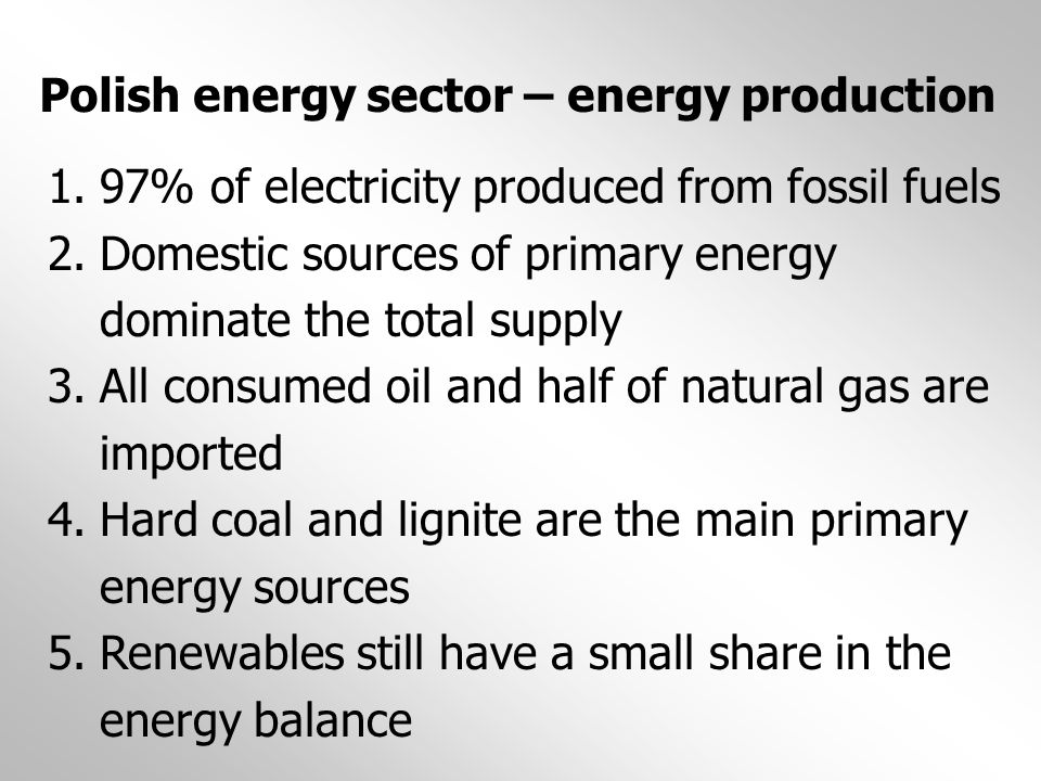 Polish energy sector – energy production