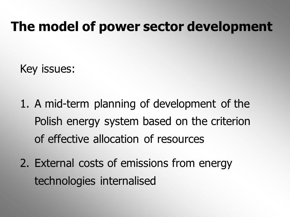 The model of power sector development