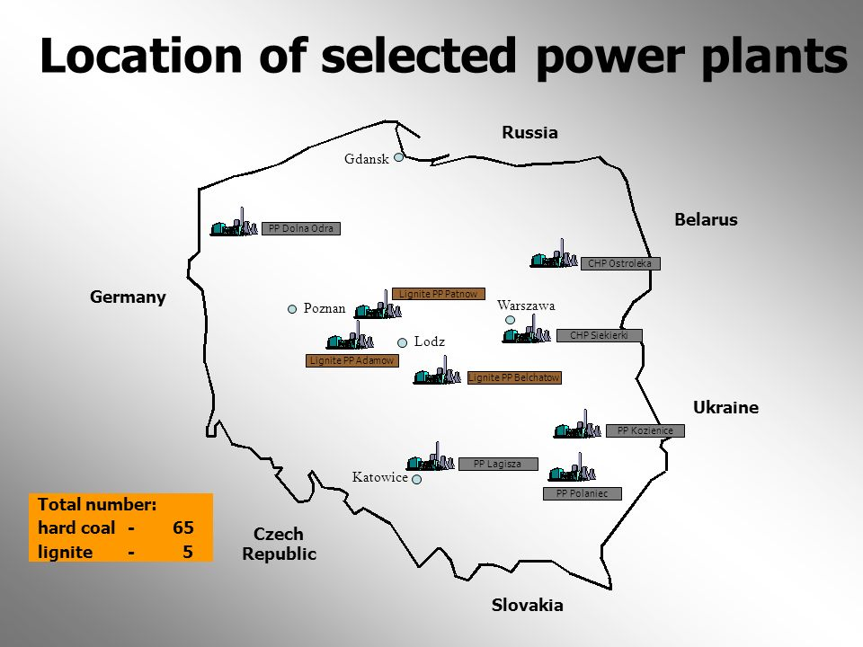 Location of selected power plants