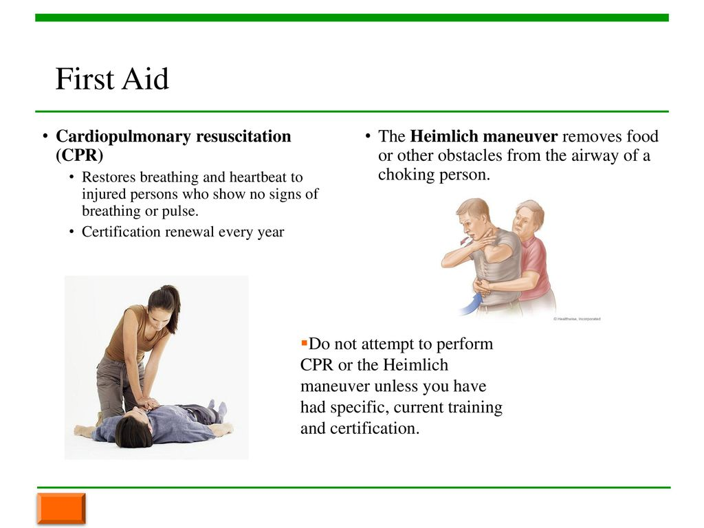 Chapter 3 workplace safety ppt download 32 first aid cardiopulmonary resuscitation cpr xflitez Image collections