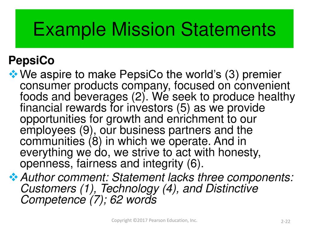 evaluating vision and mission statements at pepsico Chapter 2 describes the nature and role of vision and mission statements in  strategic planning, and  evaluate mission statements of different organizations   see the end-of-chapter exercise that deals with the pepsico vision/mission 4.