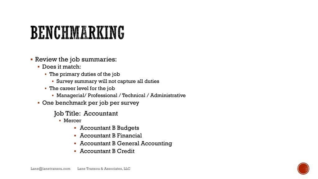 Benchmarking Review The Job Summaries: Job Title: Accountant  Job Summaries