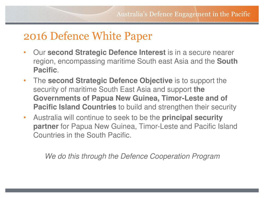 Australia's Defence Engagement in the Pacific