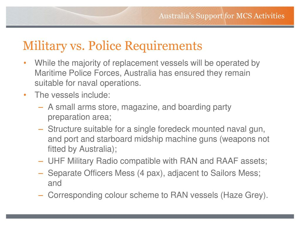 Australia's Support for MCS Activities