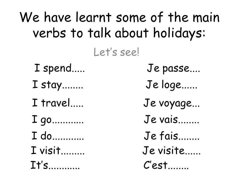 We have learnt some of the main verbs to talk about holidays: