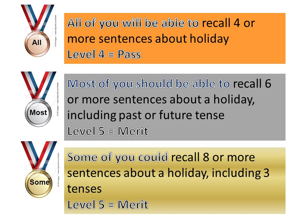 All of you will be able to recall 4 or more sentences about holiday