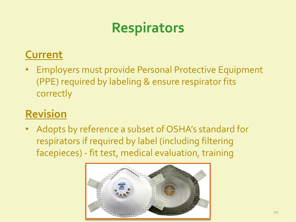 Revisions to epas agricultural worker protection standard ppt 20 respirators current revision 1betcityfo Choice Image