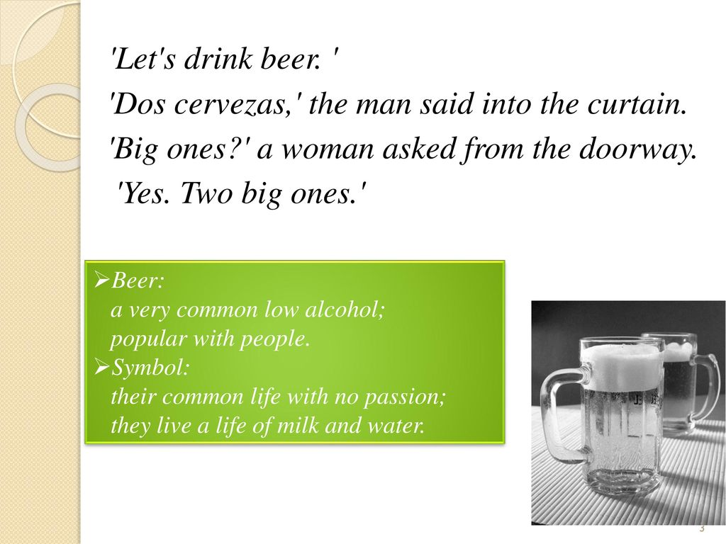 Drinks and their symbols in hills like white elephants ppt download 3 lets biocorpaavc
