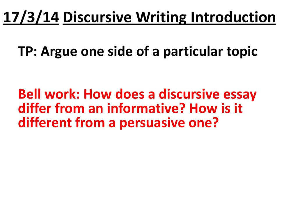 discussive essay Get an answer for 'can you guide me through the steps to writing a discursive essay' and find homework help for other essay lab questions at enotes.