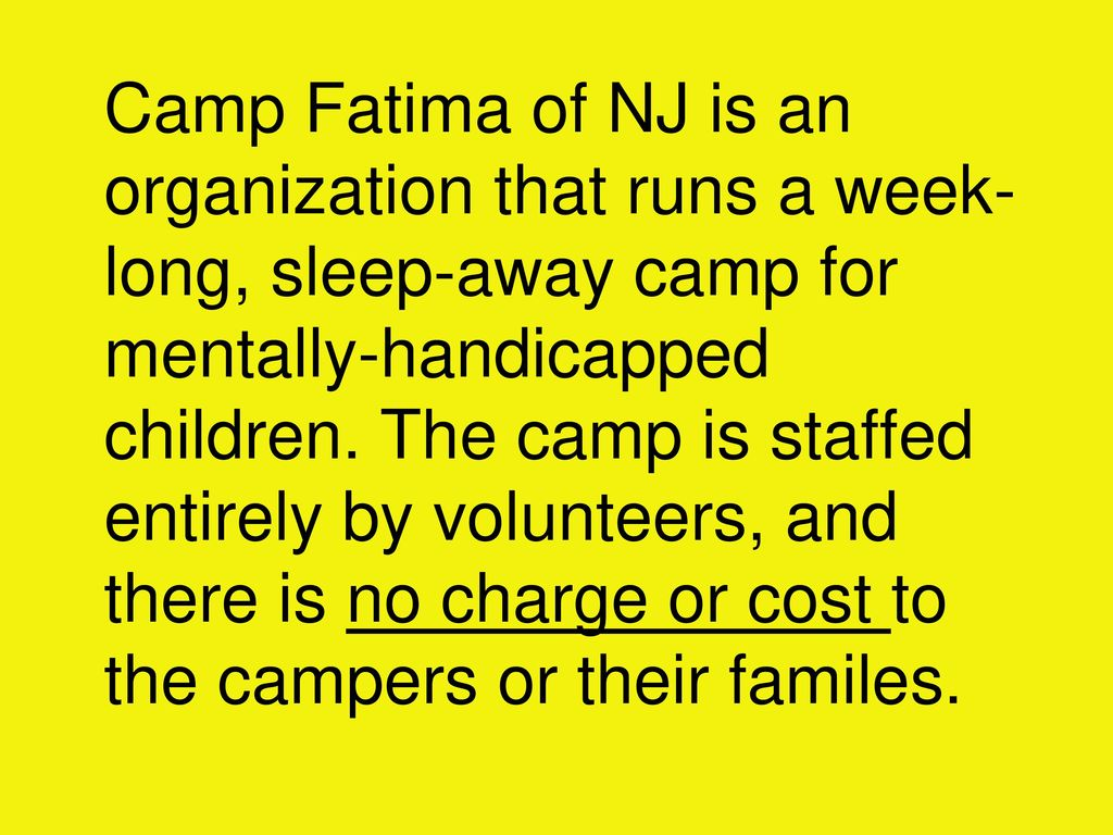 Volunteers Needed: at Camp Fatima of NJ