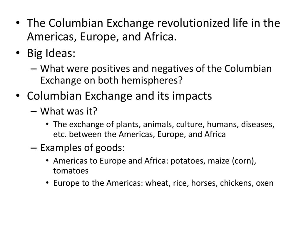 Trade and the Columbian Exchange