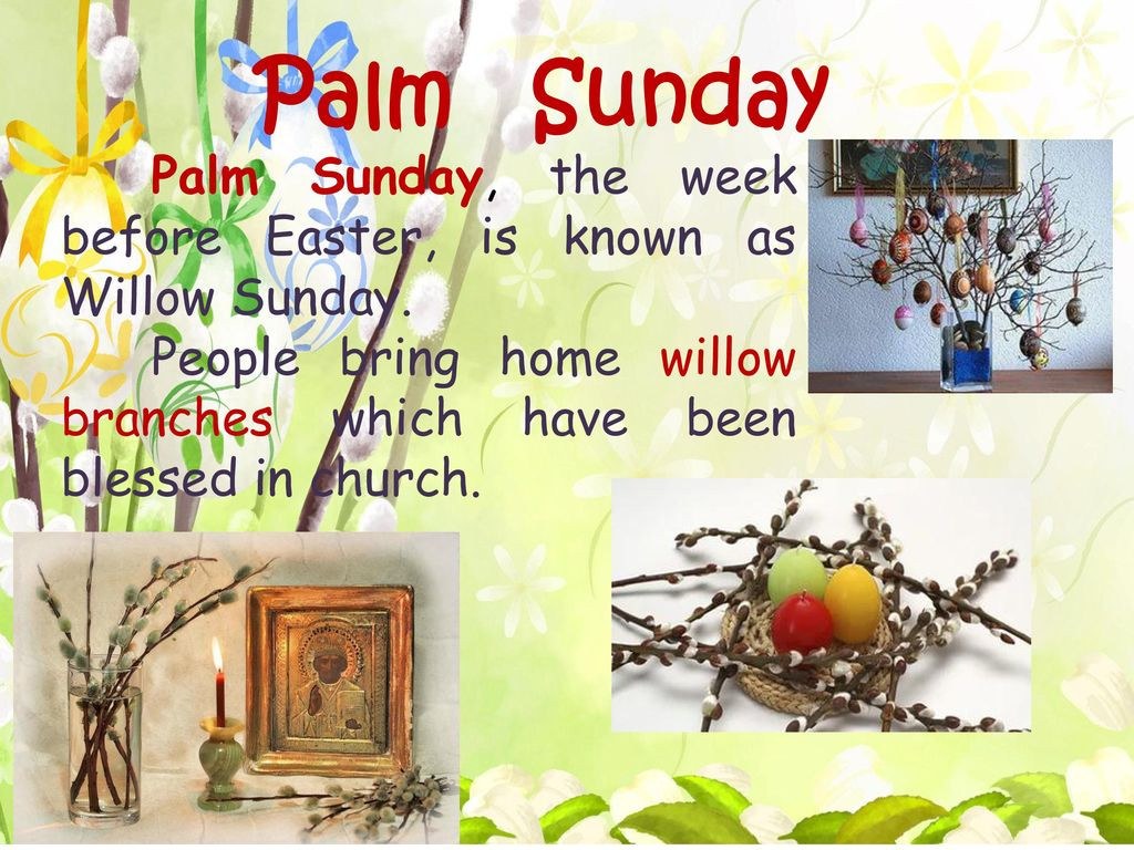 Palm Sunday Palm Sunday, the week before Easter, is known as Willow Sunday.