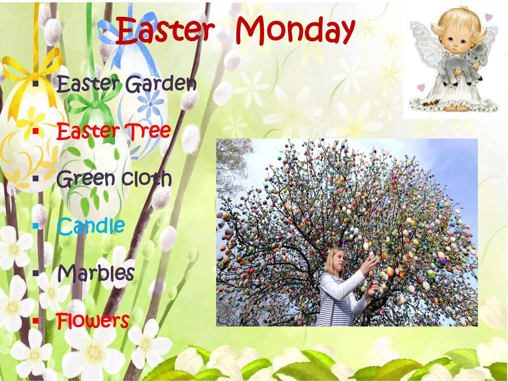 Easter Monday Easter Garden Easter Tree Green cloth Candle Marbles